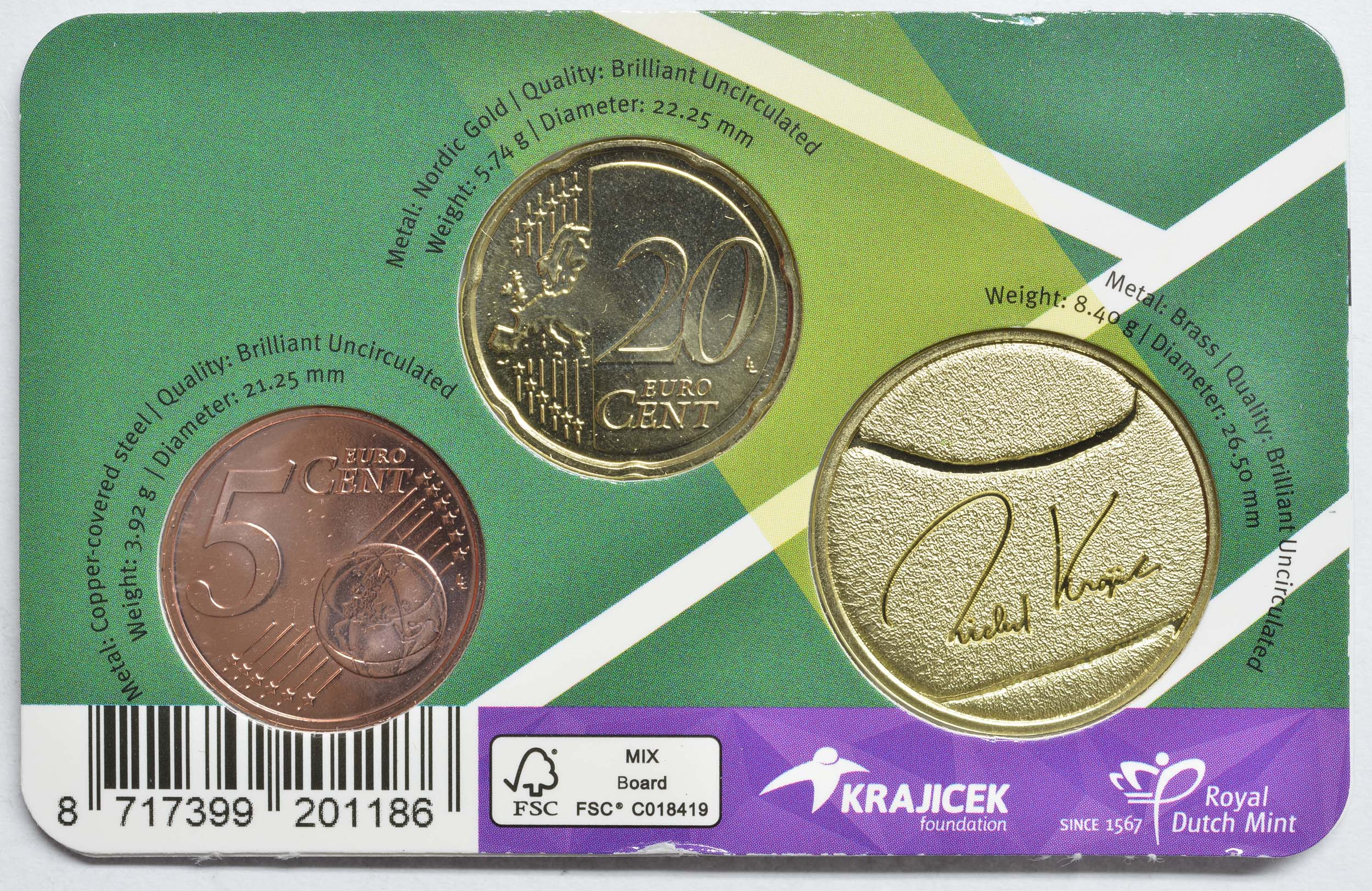 Zertifikat:Niederlande : 0,25 Euro Richard Krajicek 20 Cent, 5 Cent und Medaille  2021 Stgl.
