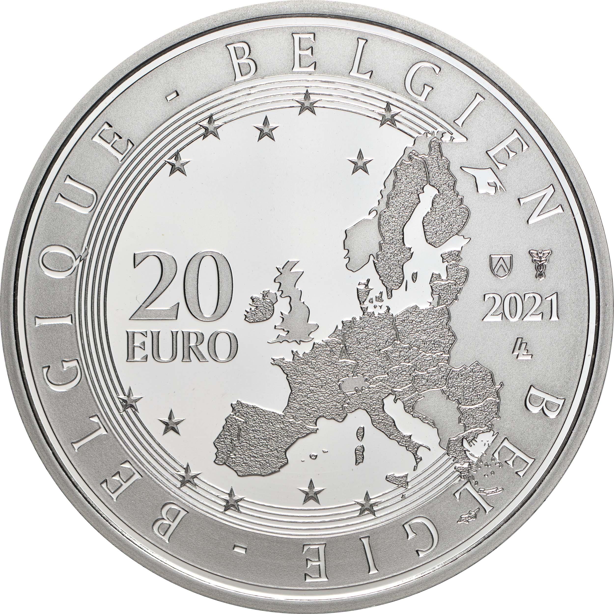 Rückseite:Belgien : 20 Euro 100. Geburtstag Roger Raveel  2021 PP