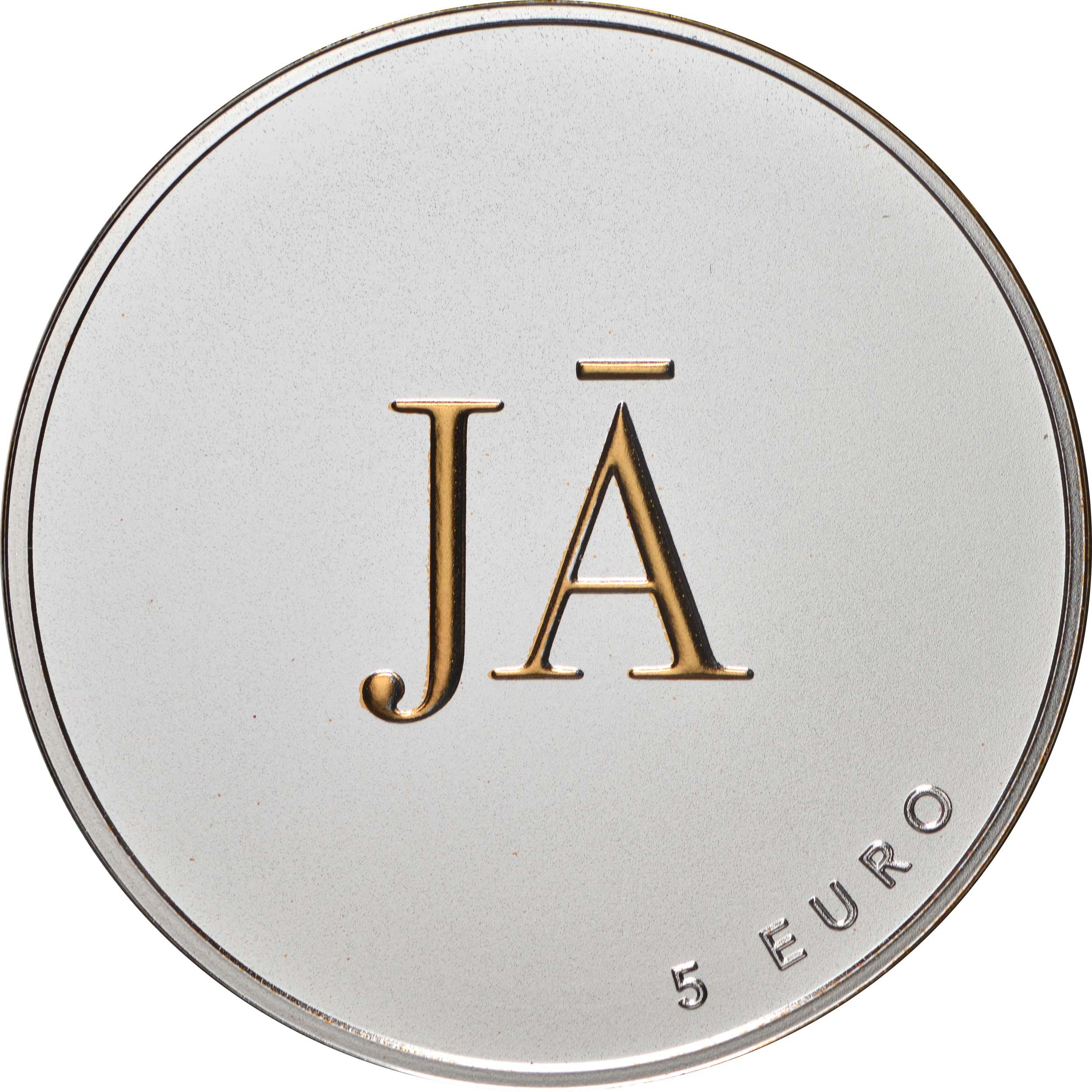 Rückseite:Lettland : 5 Euro Ja oder Ja  2021 PP