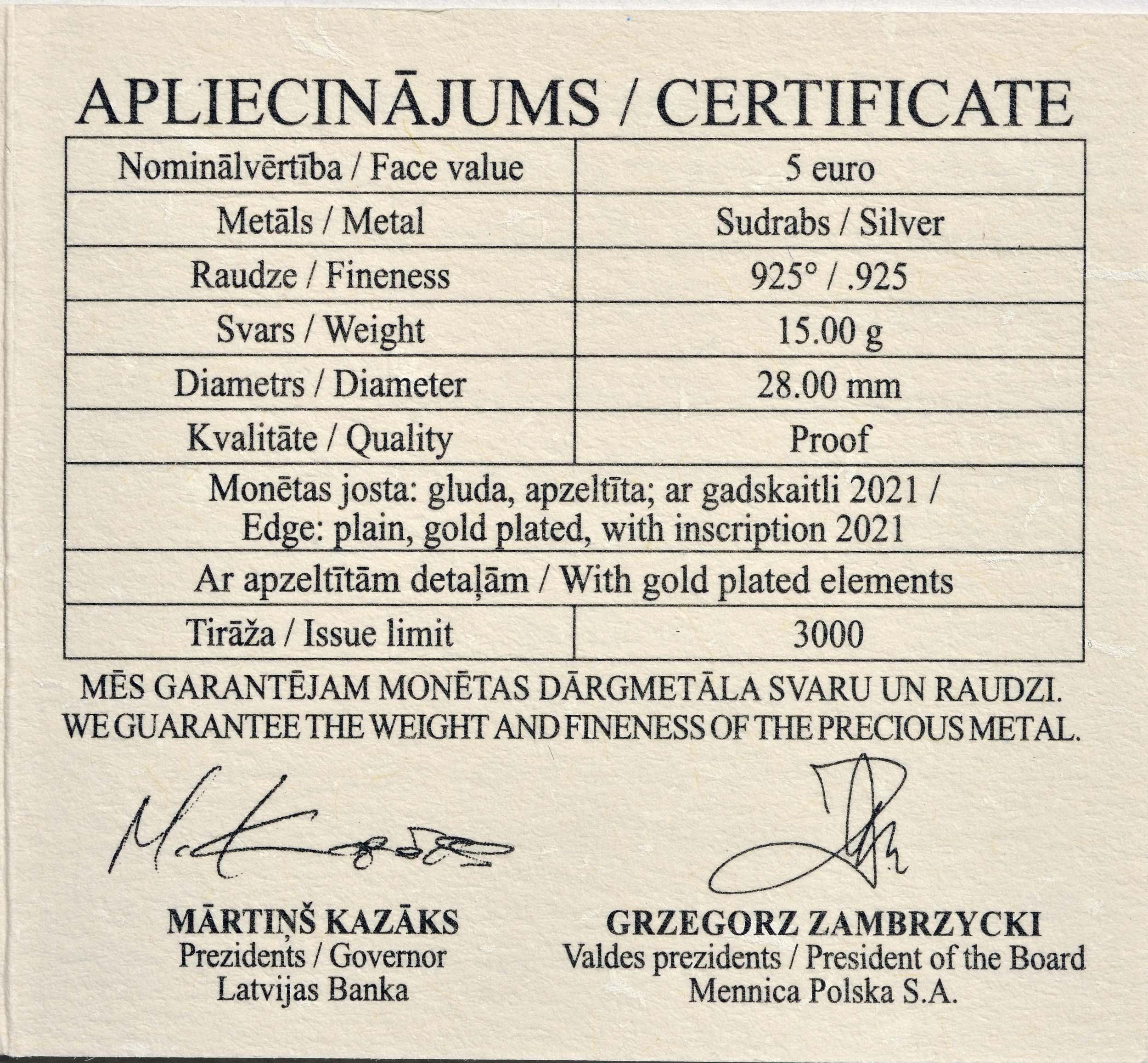 Zertifikat:Lettland : 5 Euro Ja oder Ja  2021 PP