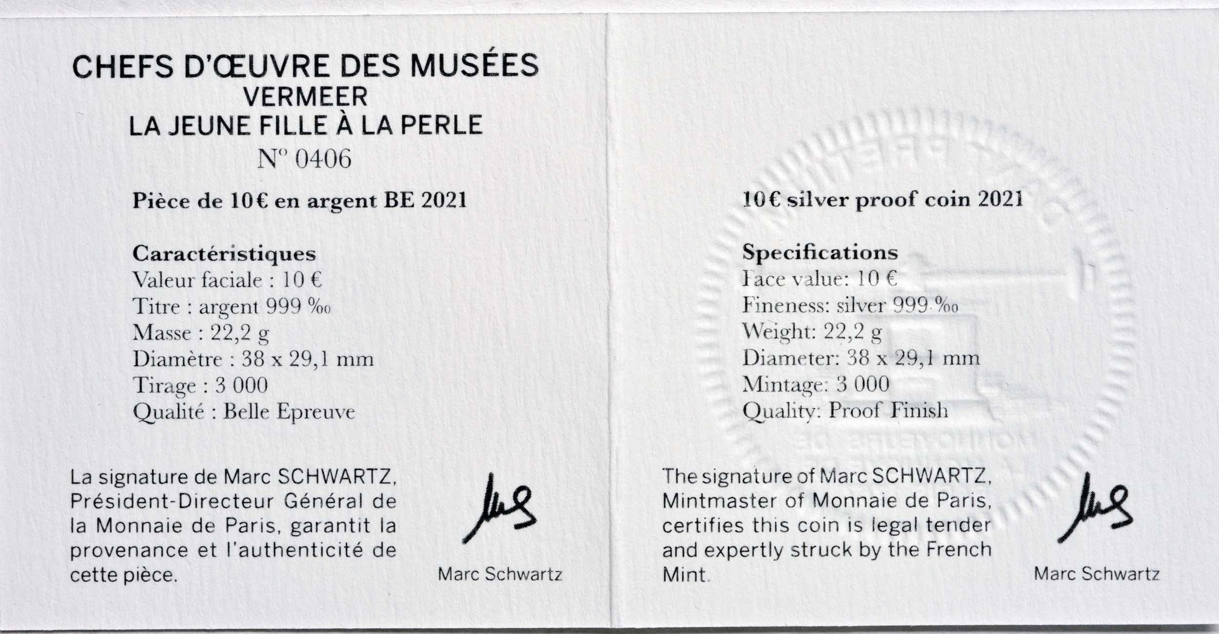 Zertifikat:Frankreich : 10 Euro Johannes Vermeer  2021 PP