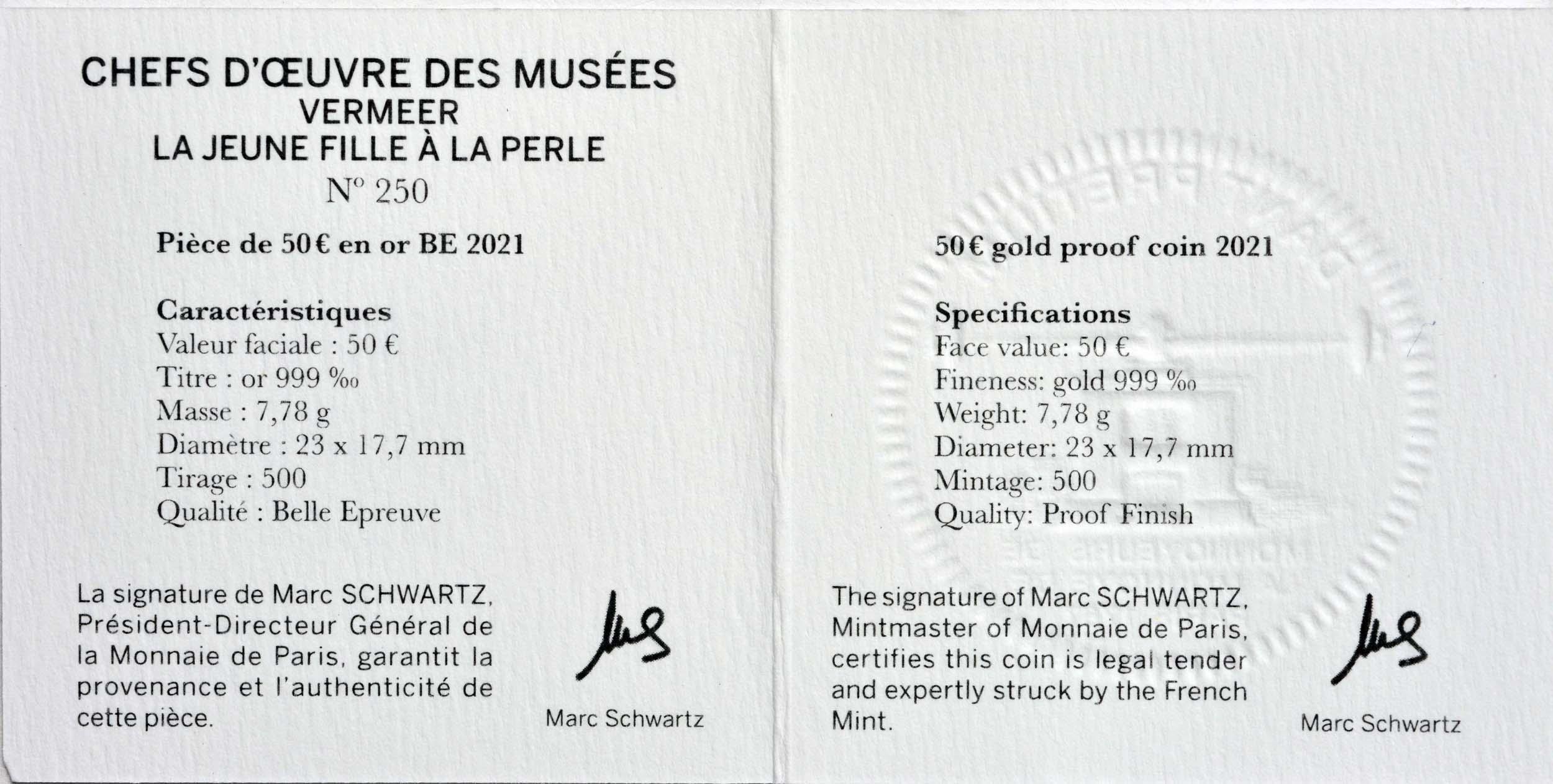 Zertifikat:Frankreich : 50 Euro Johannes Vermeer  2021 PP