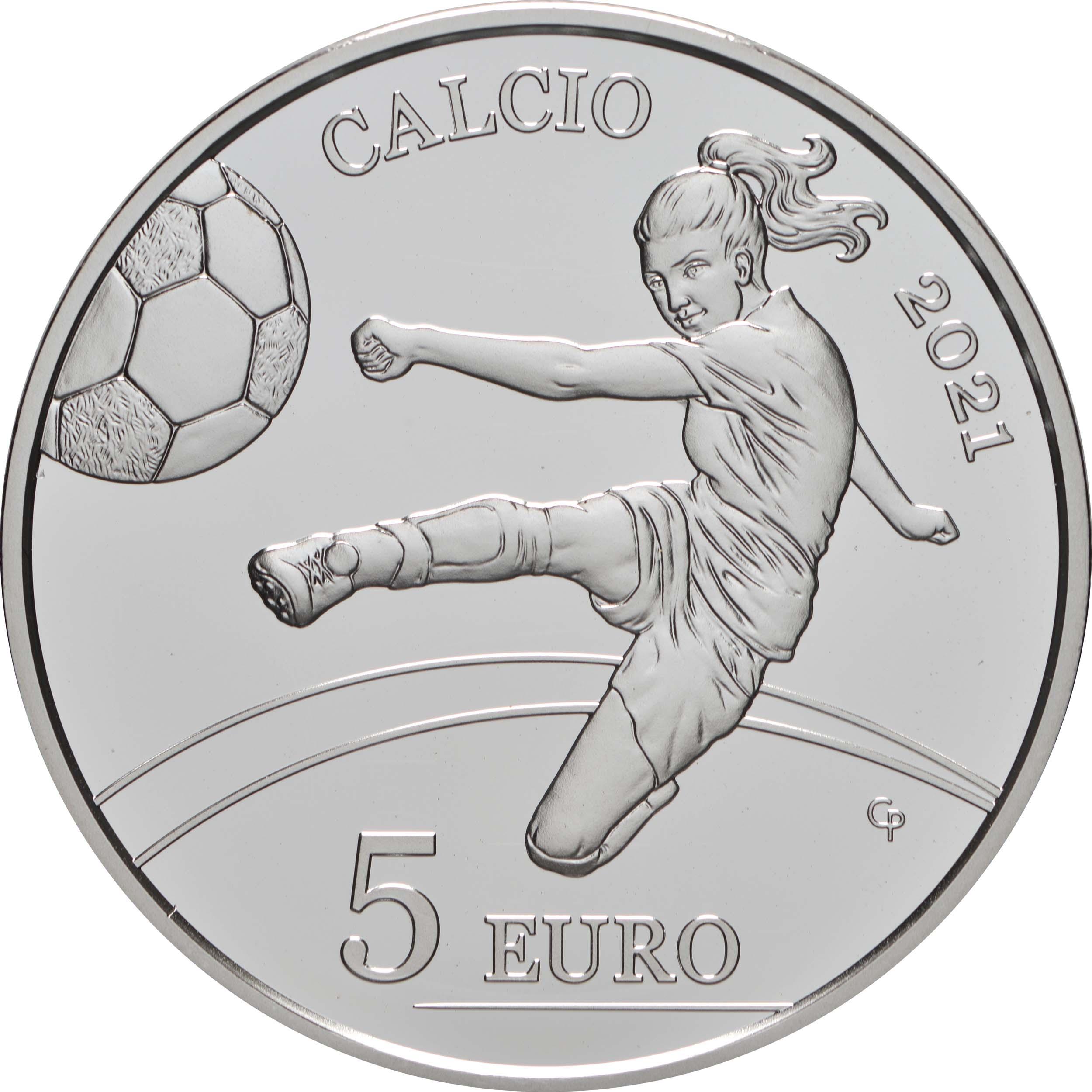 Vorderseite:San Marino : 5 Euro Fußball  2021 PP