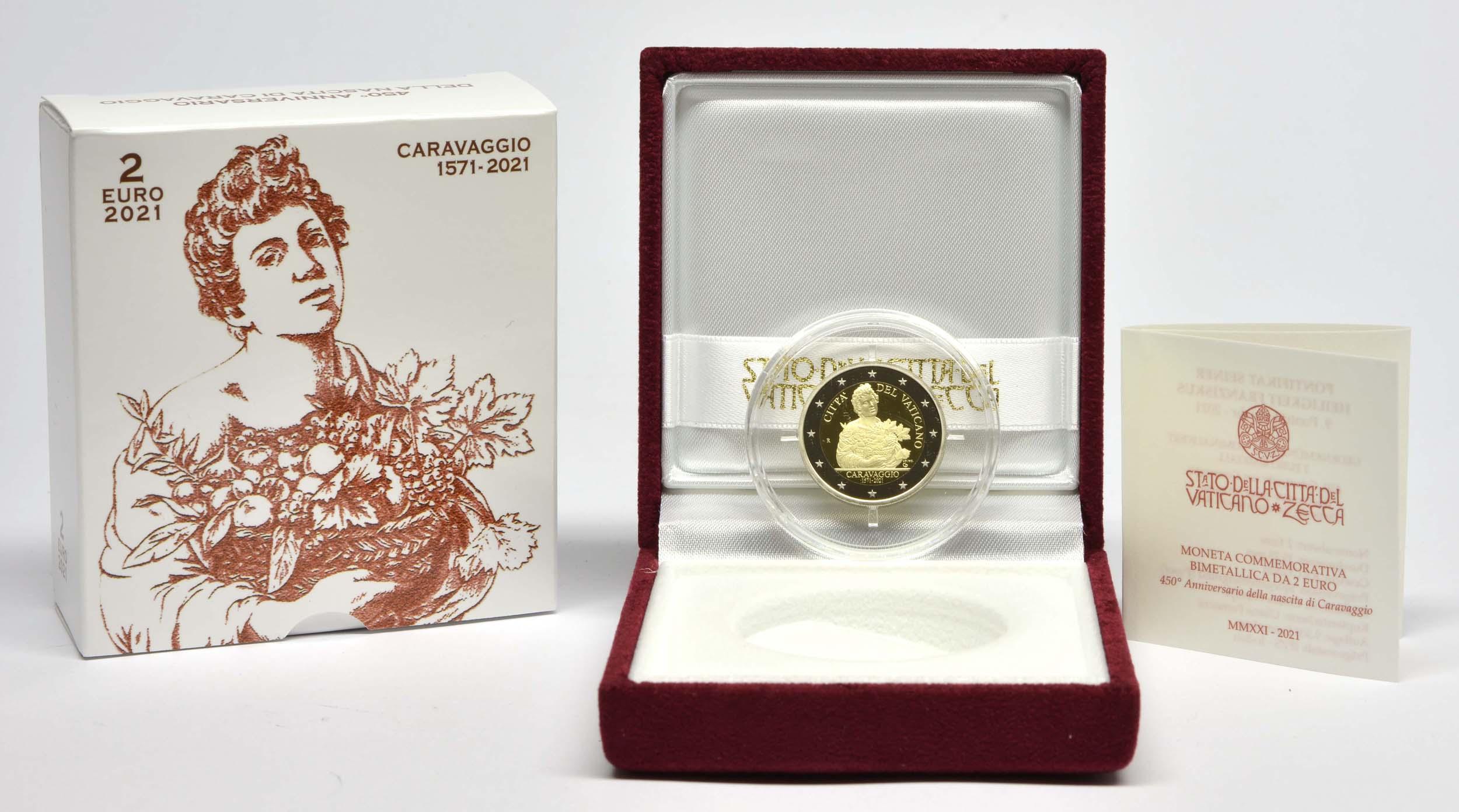 Lieferumfang:Vatikan : 2 Euro 450. Geburtstag von Caravaggio  2021 PP