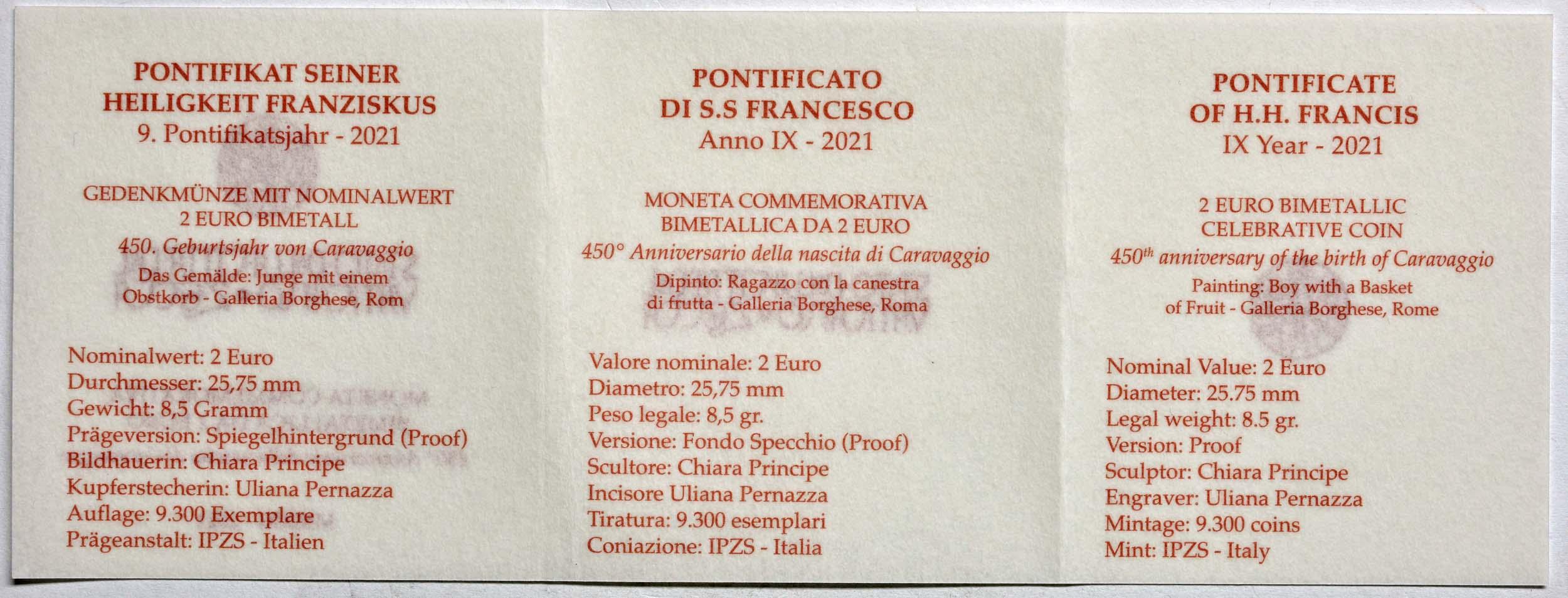 Zertifikat:Vatikan : 2 Euro 450. Geburtstag von Caravaggio  2021 PP