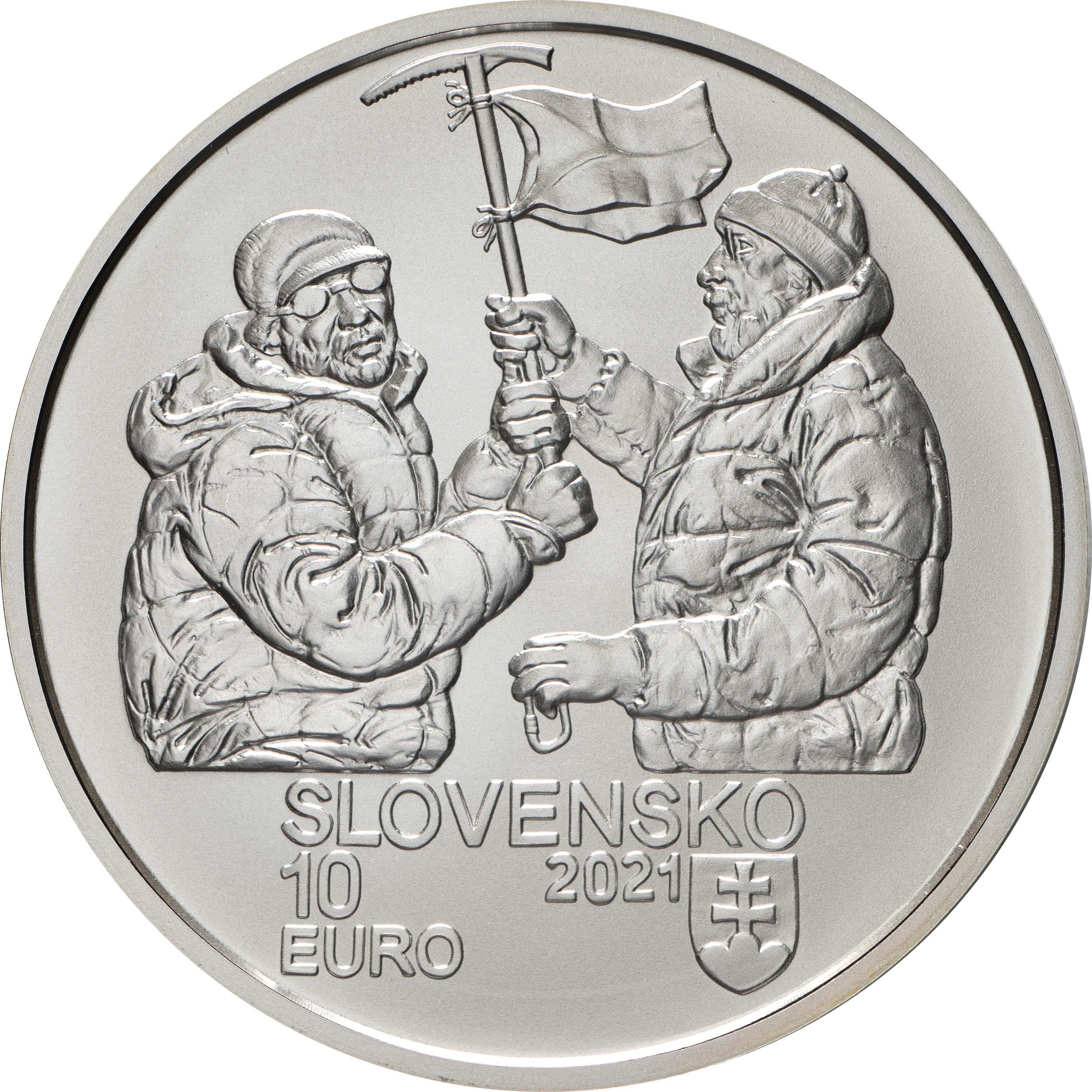 Rückseite:Slowakei : 10 Euro 50 J. Slowak. Bergsteiger auf Nanga Parbat  2021 Stgl.