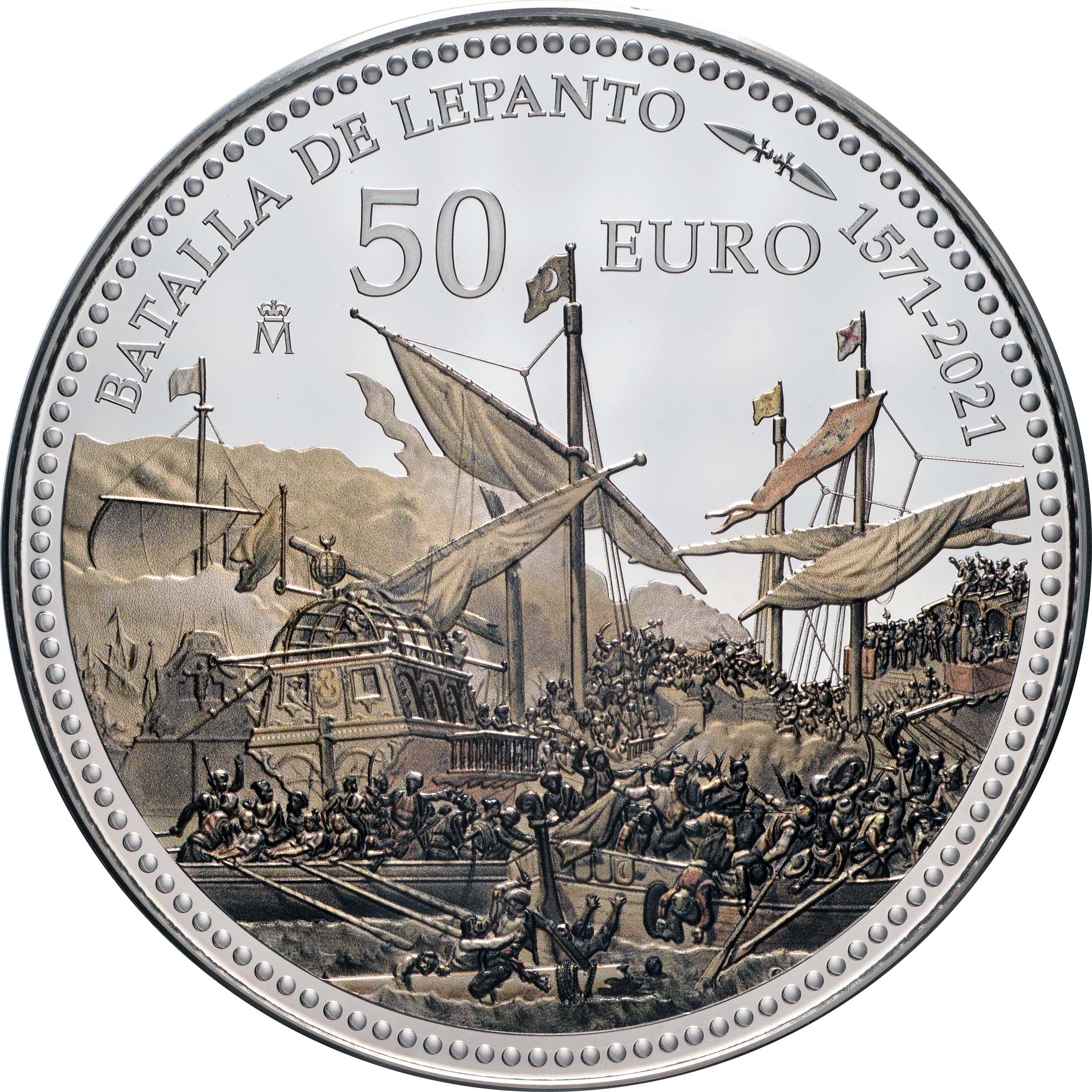 Vorderseite:Spanien : 50 Euro 450 Jahre Schlacht von Lepanto  2021 PP