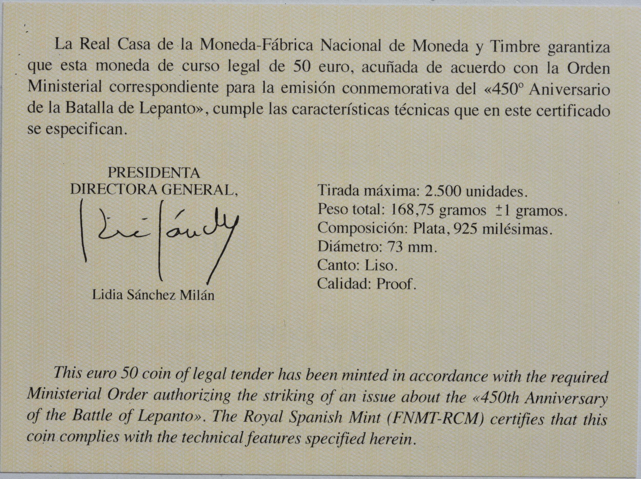 Zertifikat:Spanien : 50 Euro 450 Jahre Schlacht von Lepanto  2021 PP