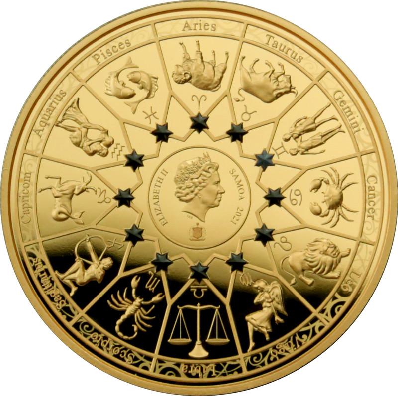 Rückseite:Samoa : 0,2 Dollar Die zwölf Olympiers im Tierkreis - Apollo vs Zwillinge  2021 Stgl.