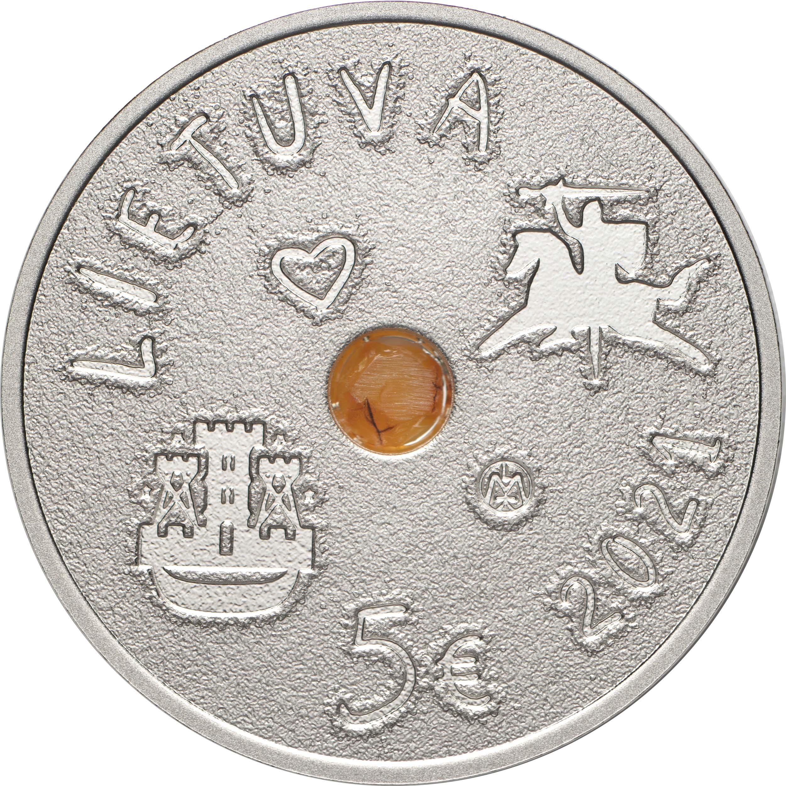Rückseite:Litauen : 5 Euro Sea Festival mit Bernstein  2021 PP