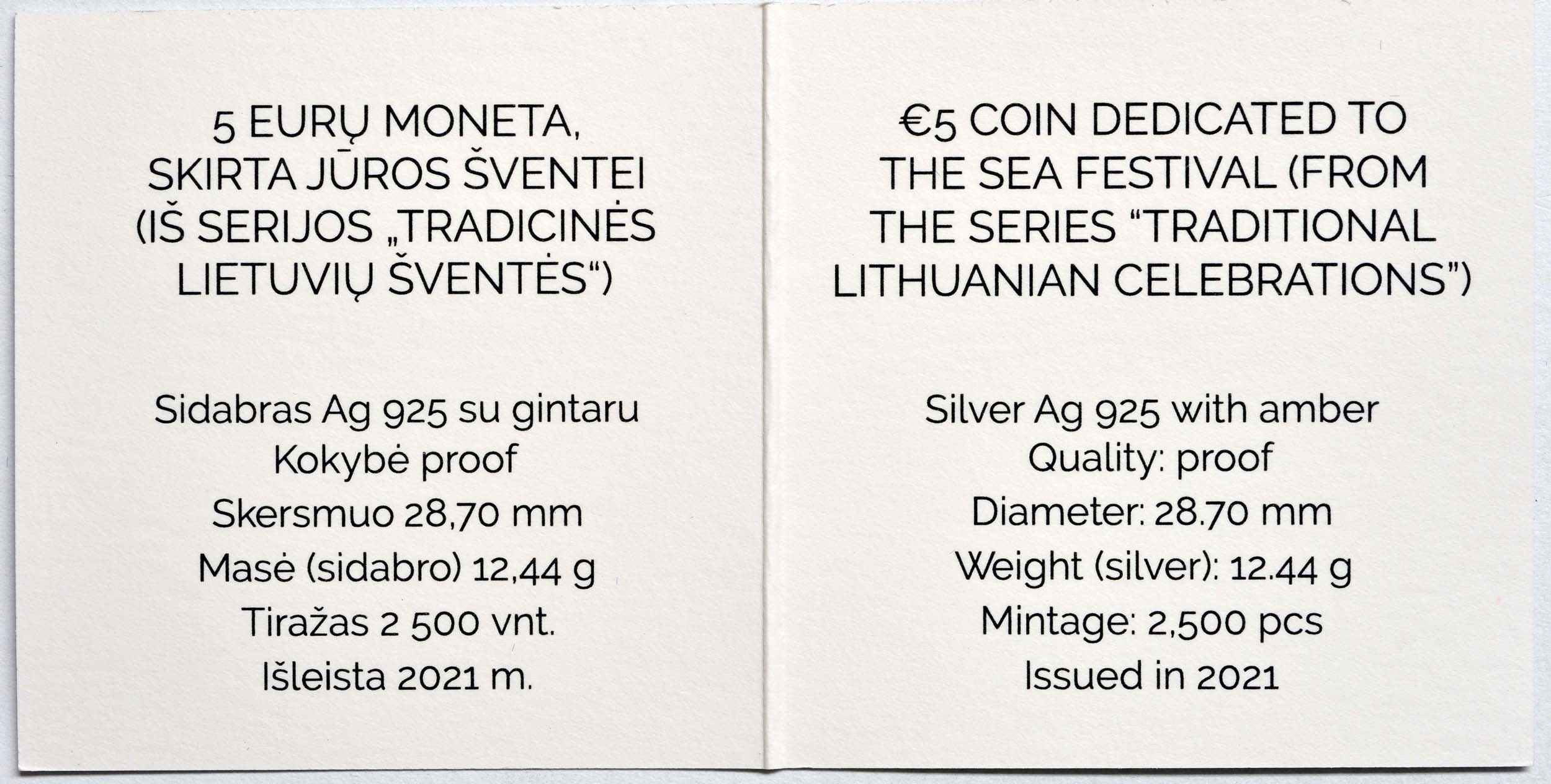 Zertifikat:Litauen : 5 Euro Sea Festival mit Bernstein  2021 PP