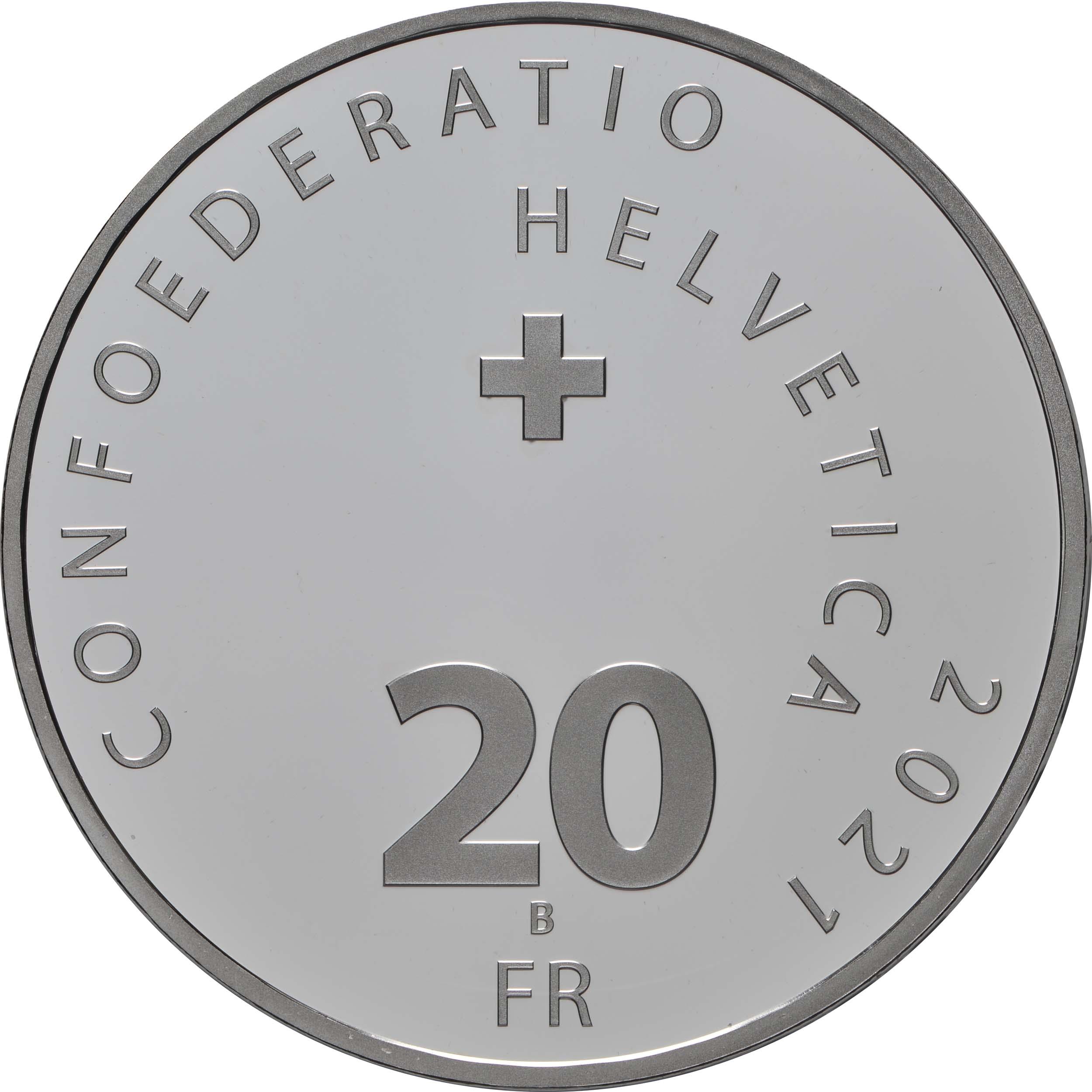 Rückseite:Schweiz : 20 Franken Wasserenergie  2021 PP