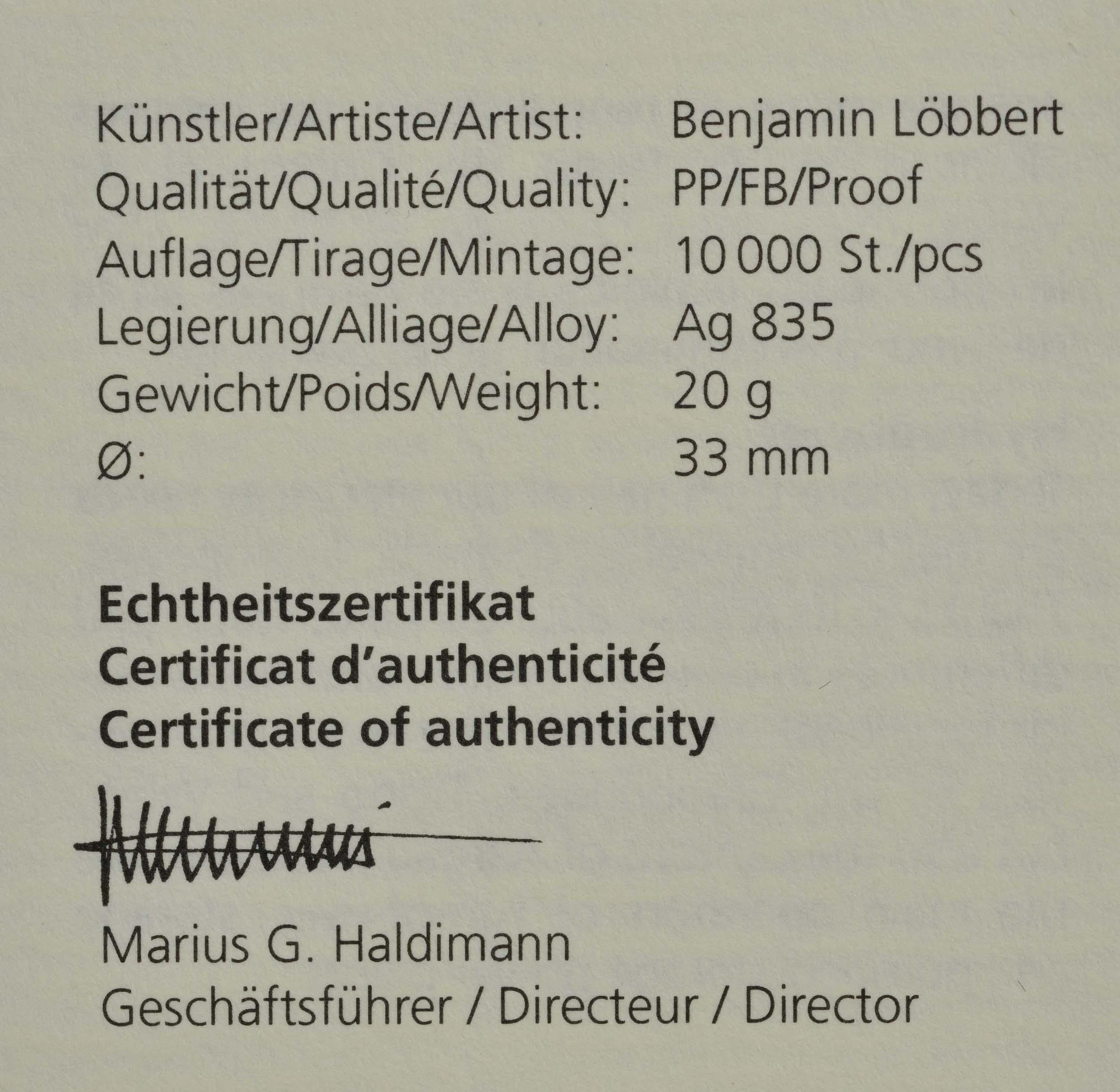 Zertifikat:Schweiz : 20 Franken Wasserenergie  2021 PP