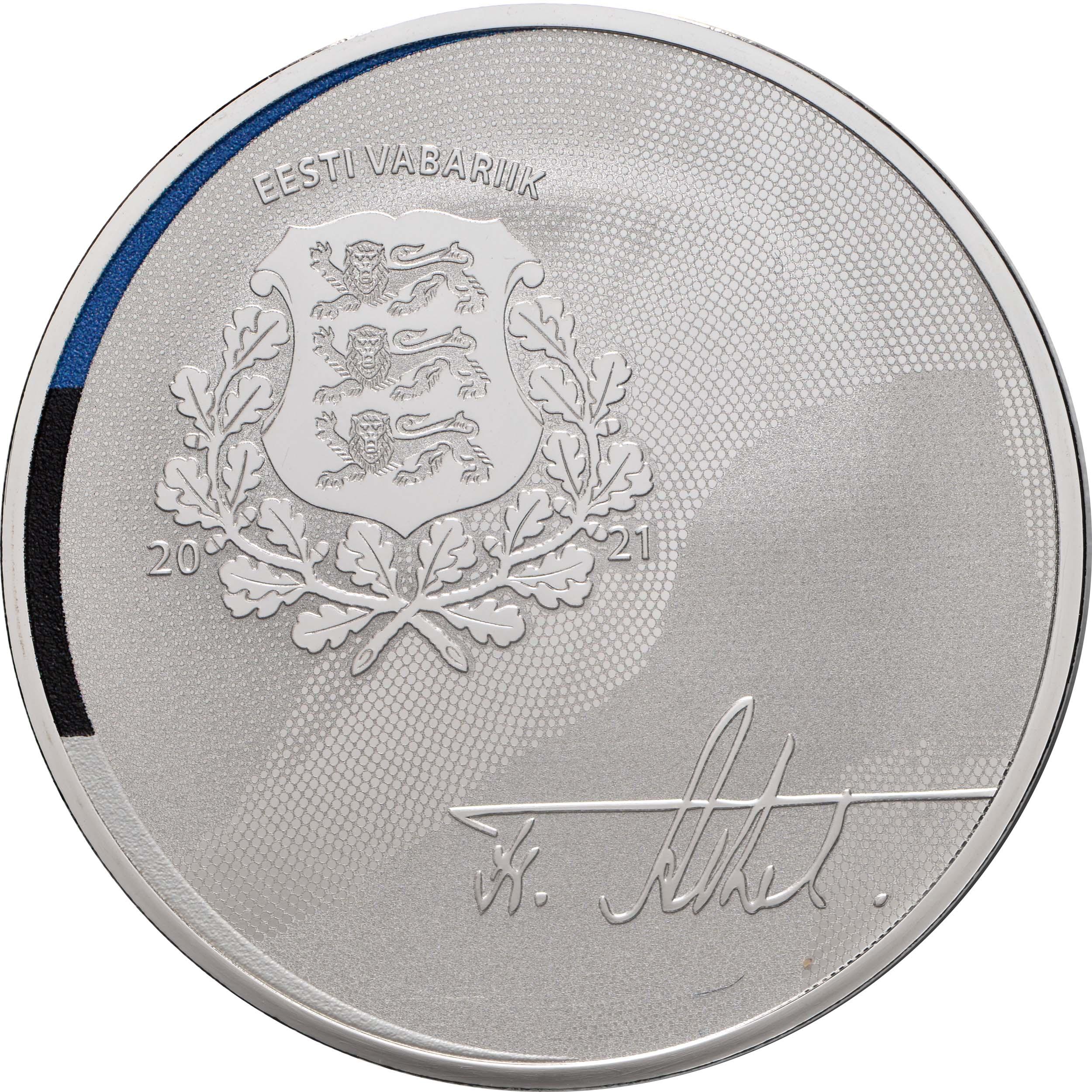 Rückseite:Estland : 15 Euro 150. Geburtstag Friedrich Karl Akel (Diplomat)  2021 PP