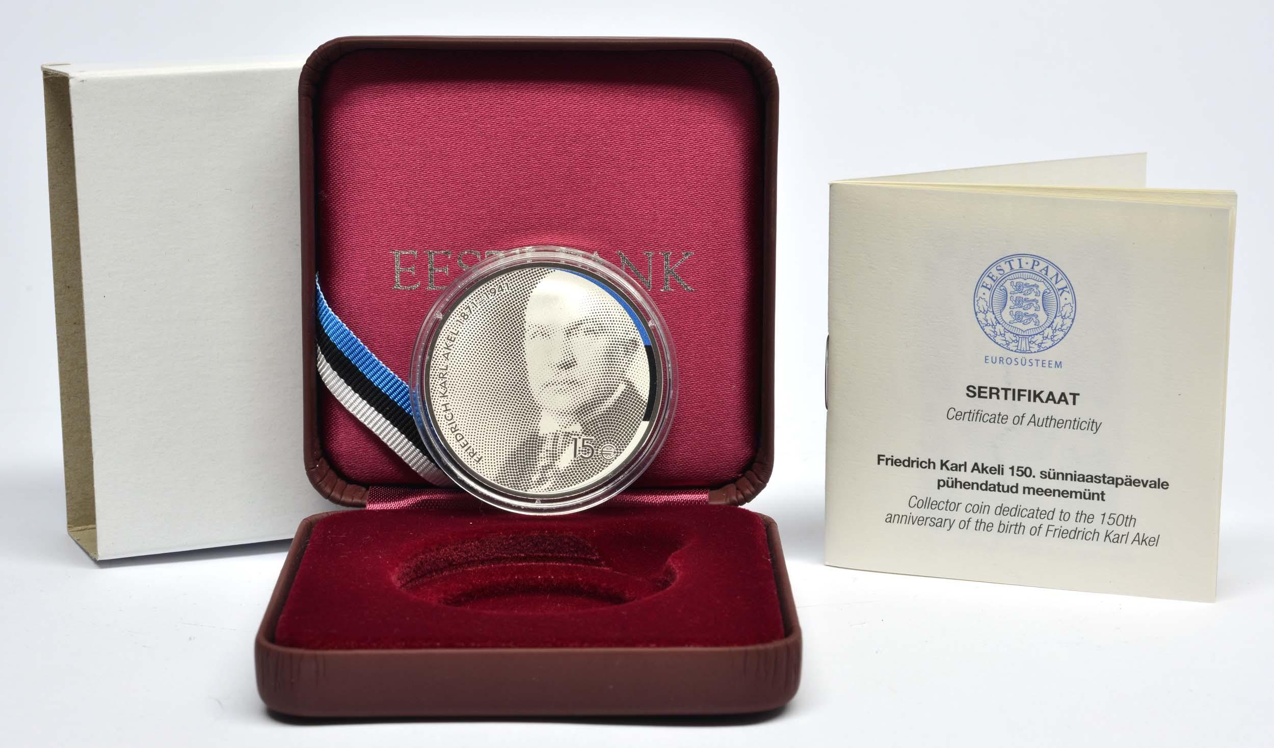 Lieferumfang:Estland : 15 Euro 150. Geburtstag Friedrich Karl Akel (Diplomat)  2021 PP