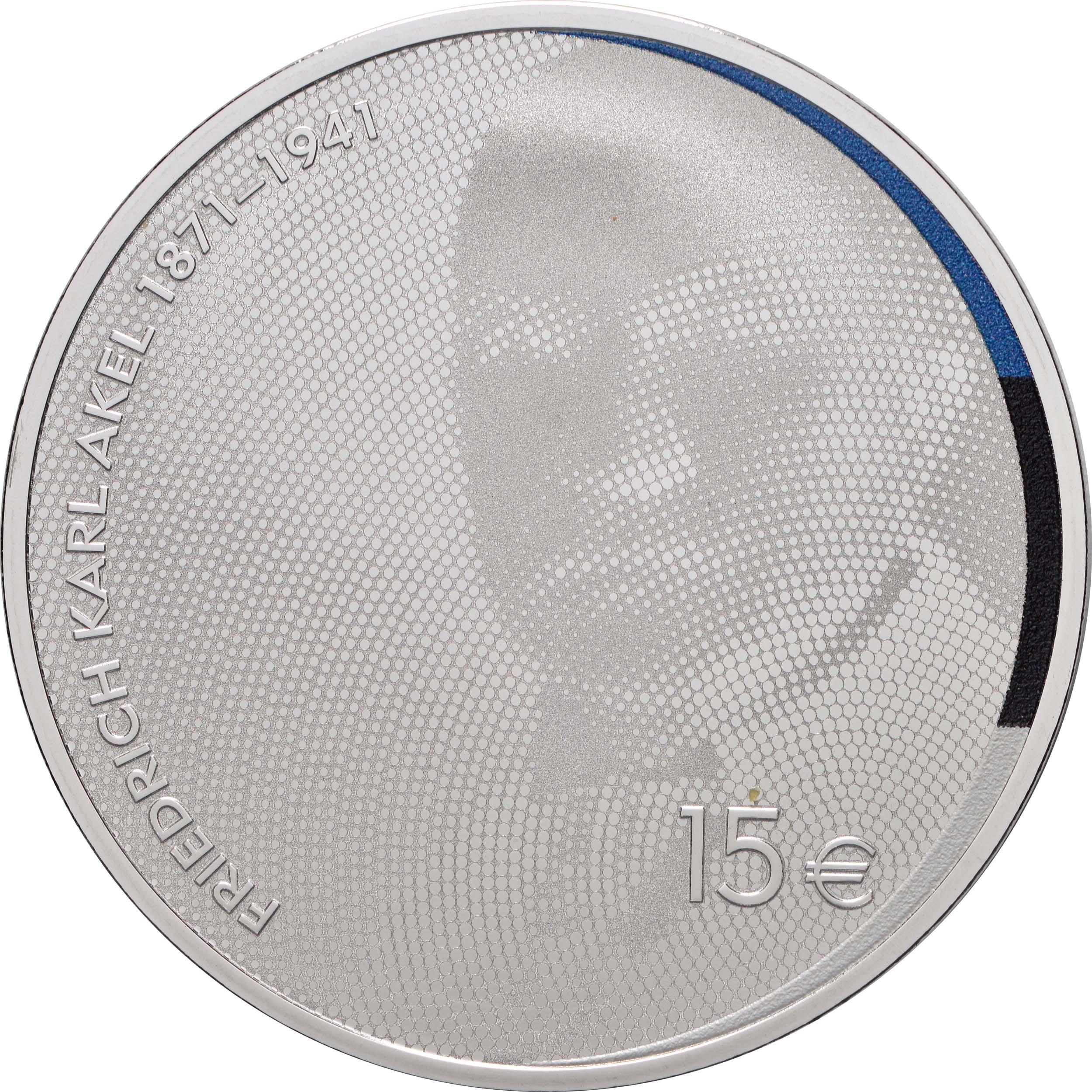 Vorderseite:Estland : 15 Euro 150. Geburtstag Friedrich Karl Akel (Diplomat)  2021 PP