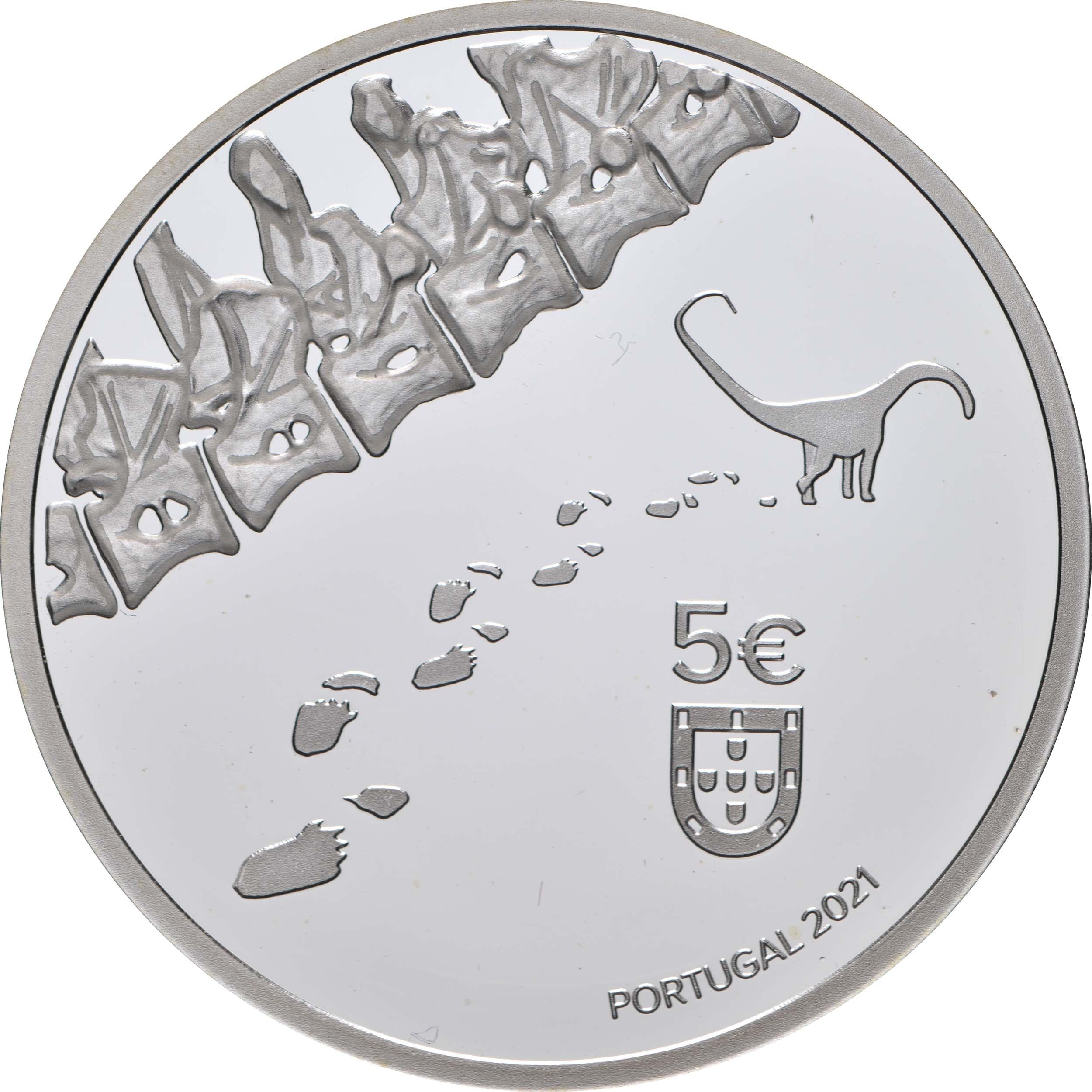 Rückseite:Portugal : 5 Euro Dinheirosaurus Lourinha - leuchtet im Dunkeln  2021 PP