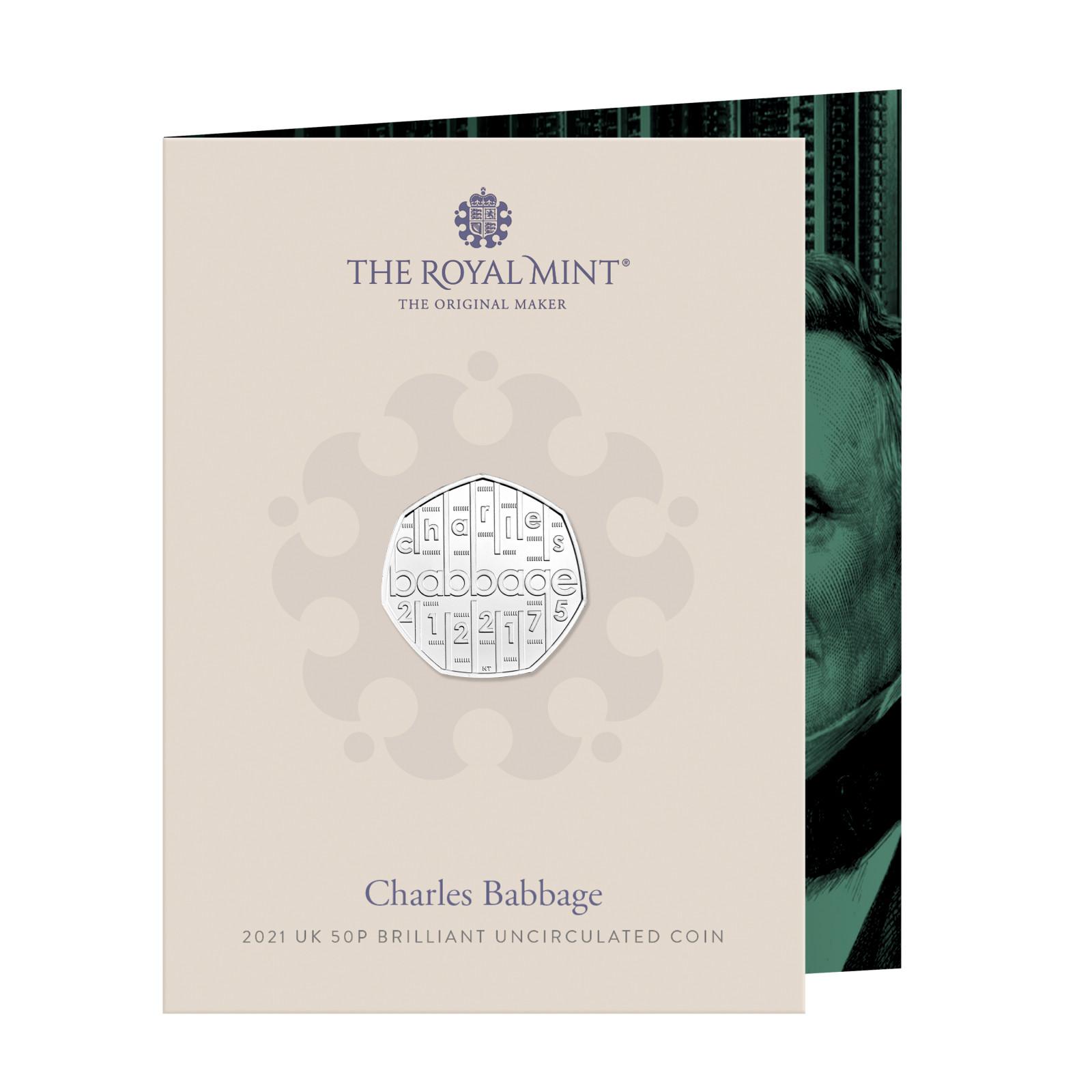 Lieferumfang:Großbritannien : 0,5 Pfund Charles Babbage - Kupfer/Nickel - B.U.  2021 Stgl.