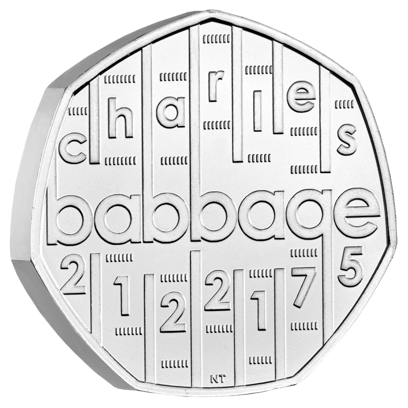 Vorderseite:Großbritannien : 0,5 Pfund Charles Babbage - Kupfer/Nickel - B.U.  2021 Stgl.