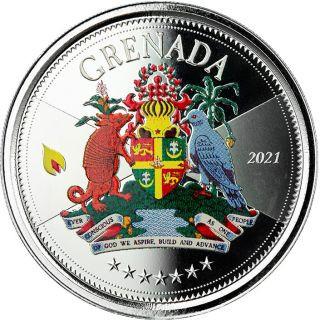 Vorderseite:Grenada : 2 Dollar Grenada - Coat of Arms (Wappen) 1 oz - in Box  2021 PP