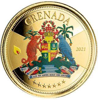 Vorderseite:Grenada : 10 Dollar Grenada - Coat of Arms (Wappen) Go - im Etui  2021 PP