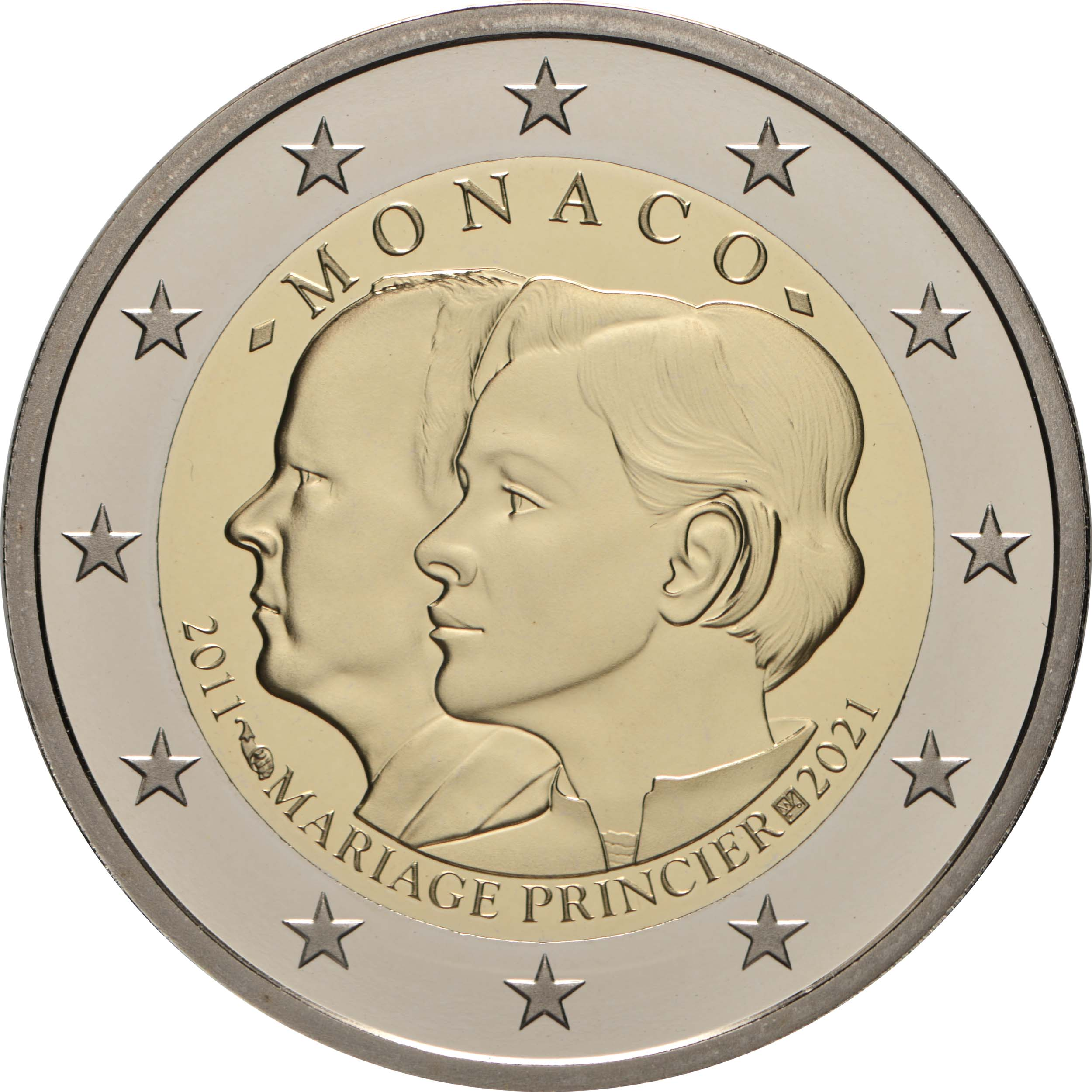Rückseite:Monaco : 2 Euro 10. Hochzeitstag von Fürst Albert II und Fürstin Charlène  2021 PP