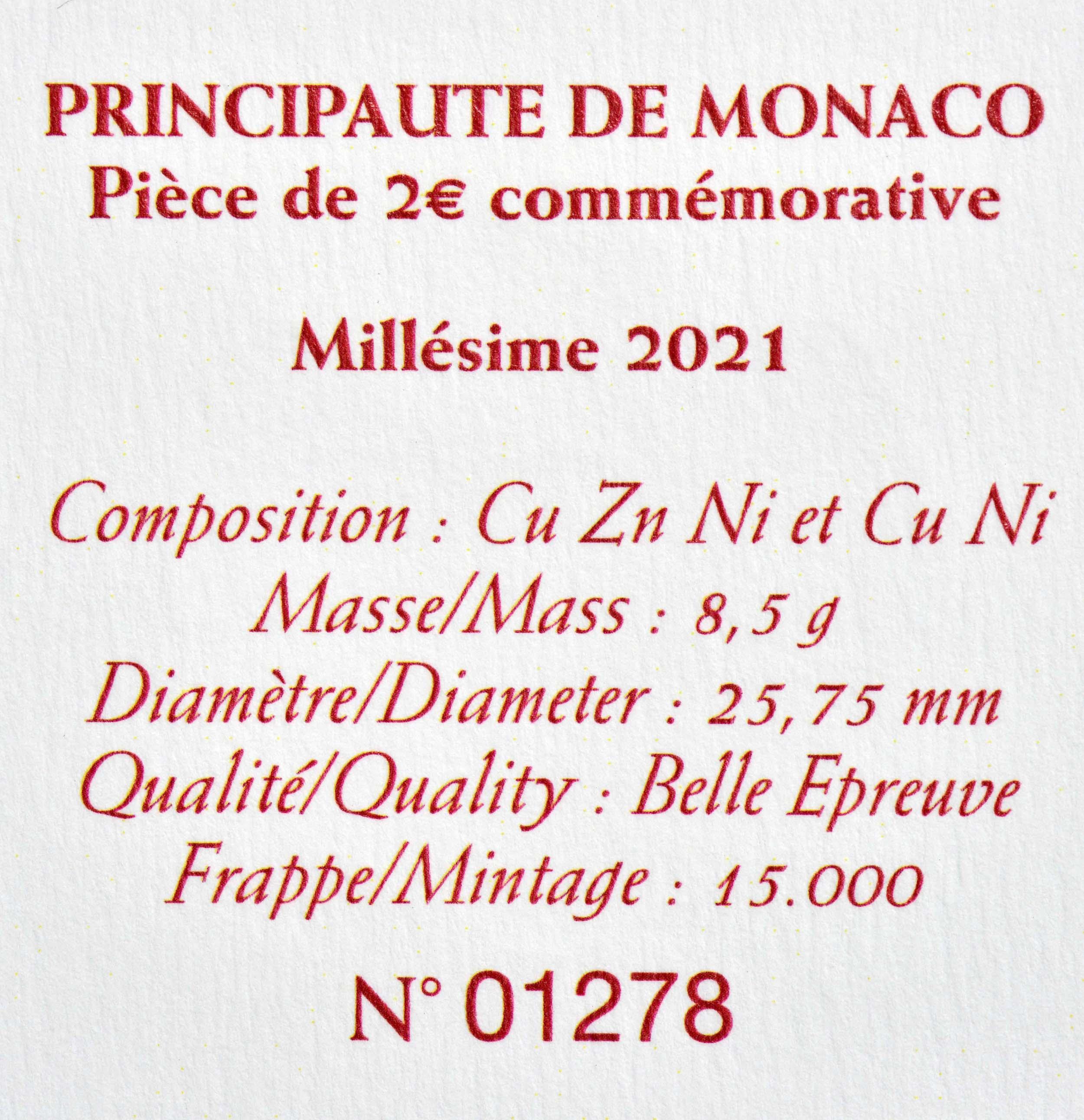 Zertifikat:Monaco : 2 Euro 10. Hochzeitstag von Fürst Albert II und Fürstin Charlène  2021 PP