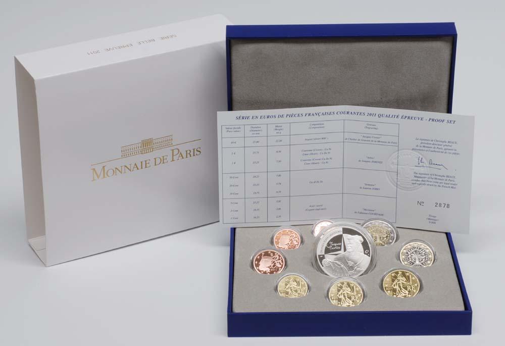 Lieferumfang:Frankreich : 13,88 Euro original Kursmünzensatz der französischen Münze inkl. 10 Euro Gedenkmünze Jacques Cartier  2011 PP KMS Frankreich 2011 PP