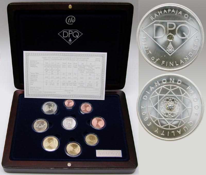 Lieferumfang:Finnland : 3,88 Euro original Kursmünzensatz der finnischen Münze in Holzkassette mit Zertifikat - Besonderheit : neues PP-Verfahren , Diamant-PP + Silbermedaille mit Diamant 0,02ct , Auflage : 1000 Exemplare  2003 PP