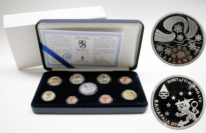 Lieferumfang:Finnland : 3,88 Euro original Kursmünzensatz der finnischen Münze (mit Silbertoken) in Originaletui mit Zertifikat ! Auflage nur 8000 Stück !  2003 PP