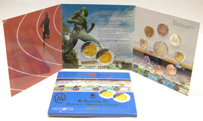 Lieferumfang:Finnland : 8,88 Euro original Kursmünzensatz der finnischen Münze zur Leichtathletik EM für Behinderte 2005 in Espoo  2005 Stgl.
