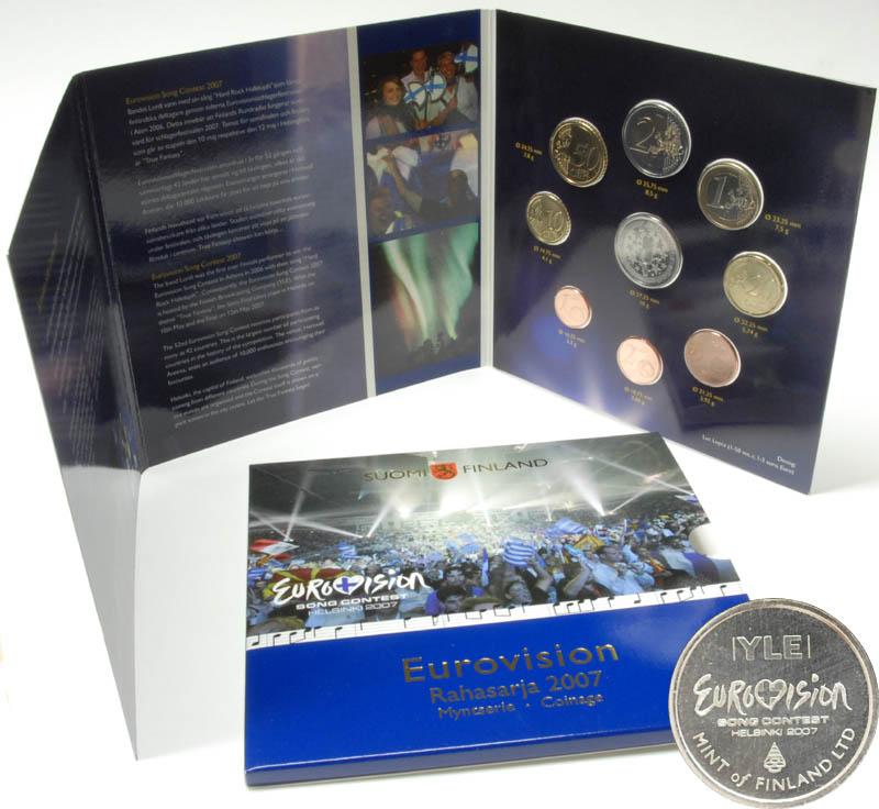 Lieferumfang:Finnland : 3,88 Euro Eurovision Song Contest, original Kursmünzensatz der finnischen Münze inkl. 2 Euro Gedenkmünze Römische Verträge  2007 Stgl. Eurovision Song Contest KMS