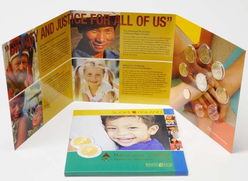 Lieferumfang:Finnland : 5,88 Euro original Kursmünzensatz II der finnischen Münze inkl. 2 Euro Gedenkmünze Menschenrechte  2008 Stgl.