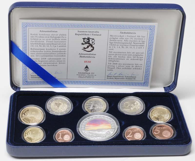 Lieferumfang:Finnland : 5,88 Euro original Kursmünzensatz der finnischen Münze inkl. 2 Euro Gedenkmünze Menschenrechte  2008 PP KMS Finnland 2008 PP