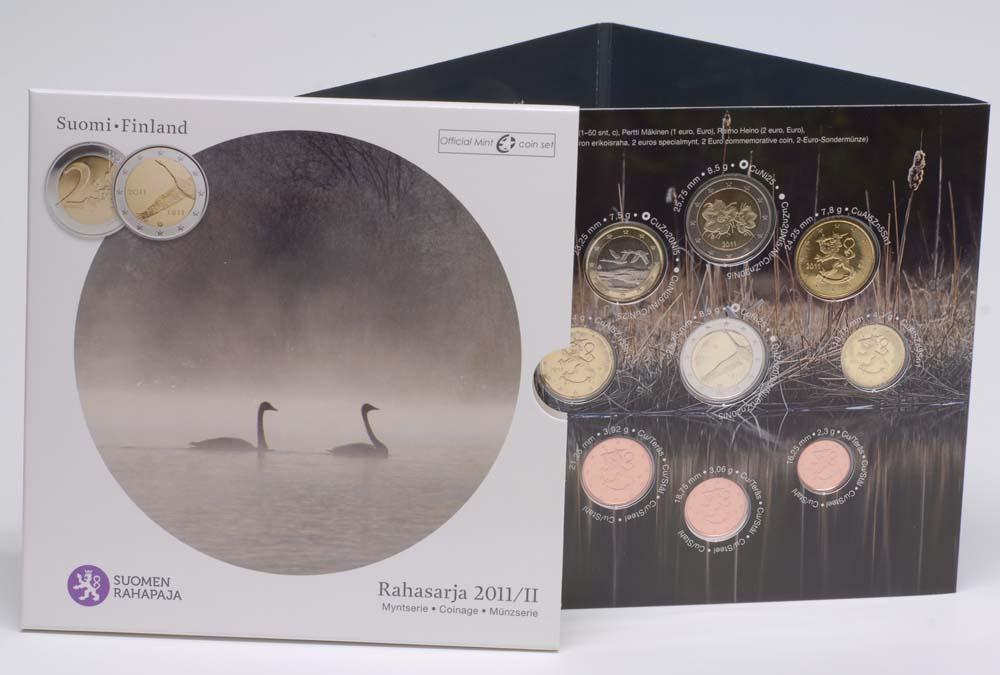 Lieferumfang:Finnland : 5,88 Euro original Kursmünzensatz der finnischen Münze II. inkl. 2 Euro Gedenkmünze  2011 Stgl.