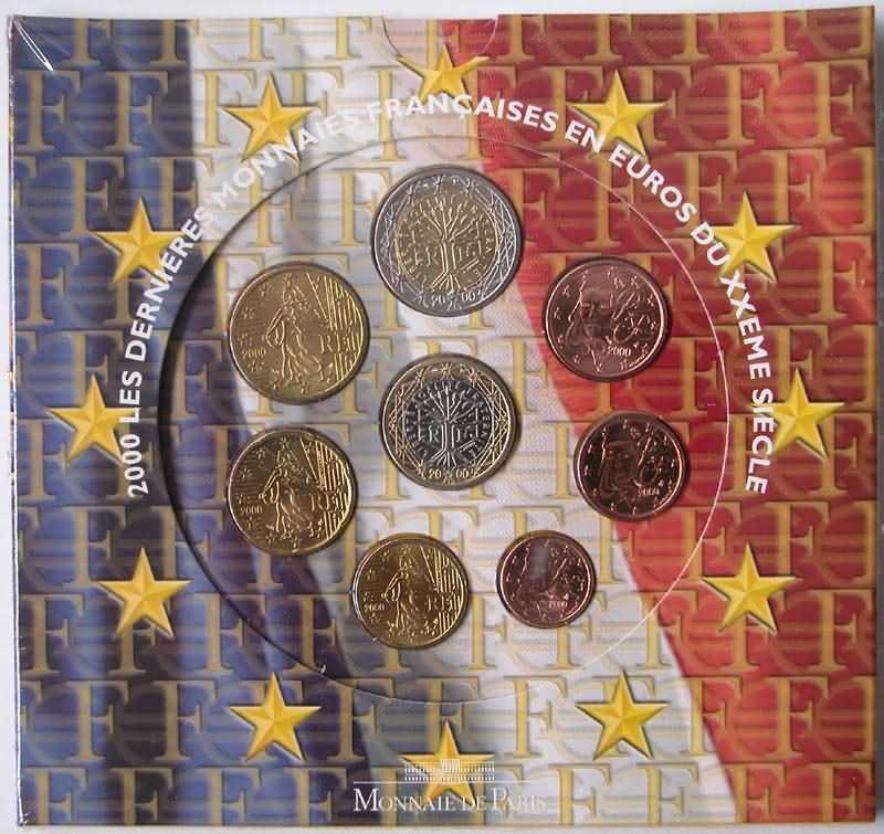 Lieferumfang:Frankreich : 3,88 Euro original Kursmünzensatz der französischen Münze  2000 Stgl. KMS Frankreich 2000