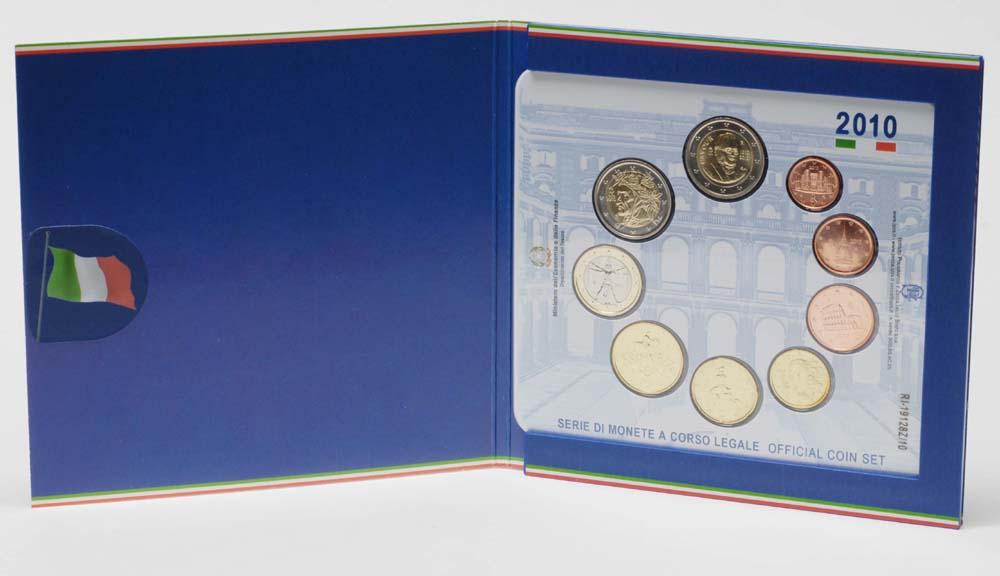 Italien : 5,88 Euro original Kursmünzensatz aus Italien inkl. 2 Euro Gedenkmünze Cavour  2010 Stgl. KMS Italien 2010 BU / Stgl.