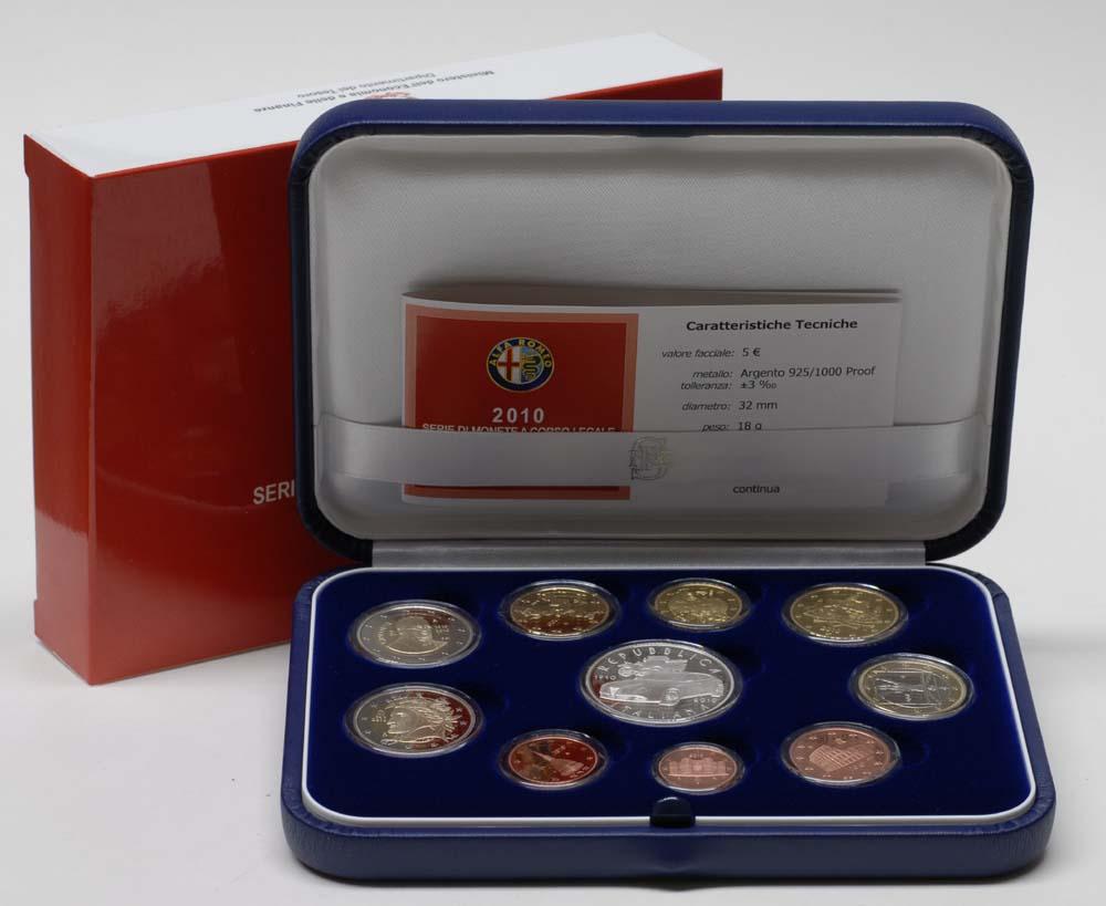 Lieferumfang:Italien : 10,88 Euro original Kursmünzensatz aus Italien  inkl. 5 Euro Gedenkmünze 100 Jahre Automobilfabrik ALFA Romeo  2010 PP