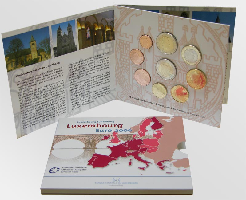 Luxemburg : 5,88 Euro original Kursm�nzensatz aus Luxemburg mit 2 Euro Gedenkm�nze  2006 Stgl. KMS Luxemburg 2006