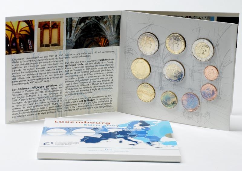 Luxemburg : 7,88 Euro original Kursm�nzensatz aus Luxemburg mit 2 x 2 Euro Gedenkm�nzen (R�mische Vertr�ge und Palast)  2007 Stgl.