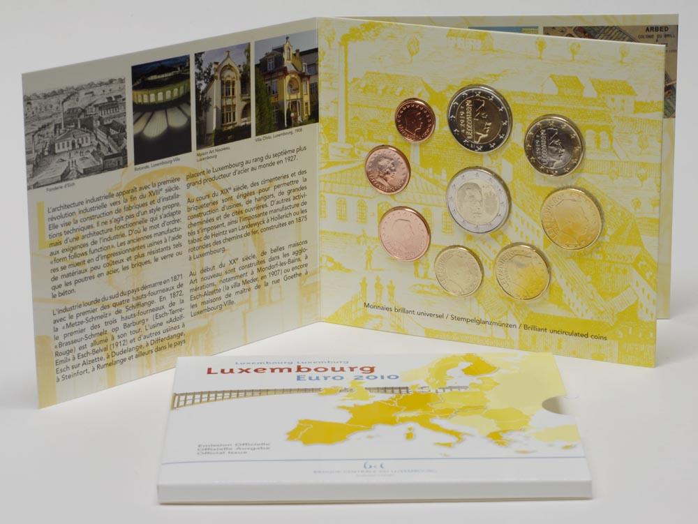 Übersicht:Luxemburg : 5,88 Euro original Kursmünzensatz aus Luxemburg mit zusätzlicher 2 Euro Gedenkmünze Wappen des Grossherzogs Henri  2010 Stgl. KMS Luxemburg 2010