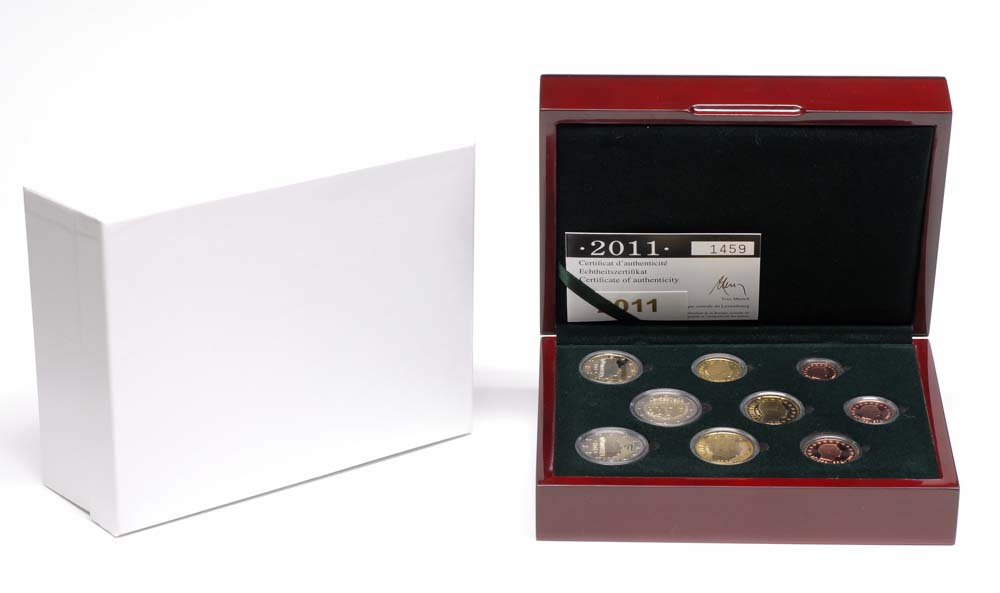 Lieferumfang:Luxemburg : 5,88 Euro original Kursmünzensatz aus Luxemburg mit zusätzlicher 2 Euro Gedenkmünze  2011 PP KMS Luxemburg 2011 PP