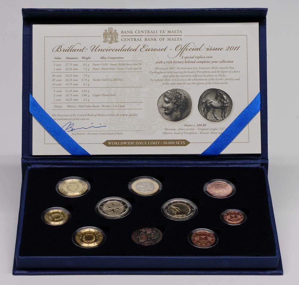 Lieferumfang:Malta : 5,88 Euro KMS Malta inkl. 2 Euro Gedenkmünze  2011 Stgl.