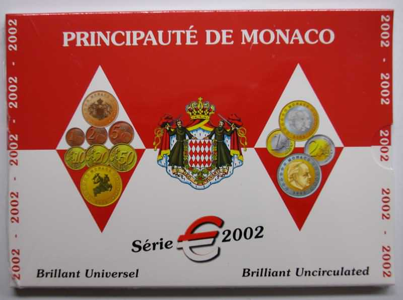 Lieferumfang:Monaco : 3,88 Euro original Kursmünzensatz aus Monaco  2002 Stgl. KMS Monaco 2002