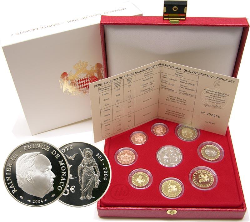 Lieferumfang:Monaco : 8,88 Euro originaler Kursmünzensatz aus Monaco + 5 Euro Gedenkmünze im Originaletui  2004 PP KMS Monaco 2004 PP