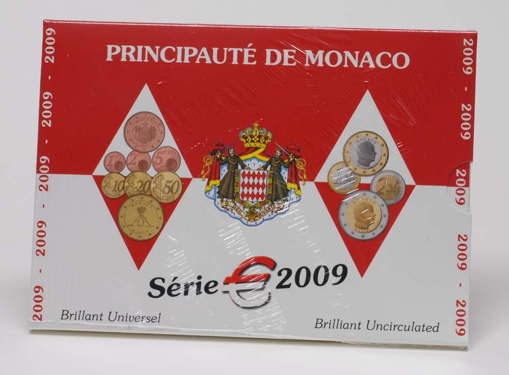 Lieferumfang:Monaco : 3,88 Euro original Kursmünzensatz aus Monaco  2009 Stgl. KMS Monaco 2009 BU Stgl.