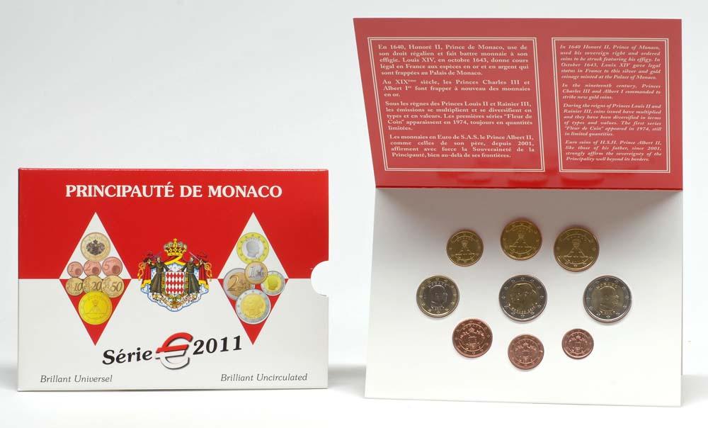 Lieferumfang:Monaco : 5,88 Euro original Kursmünzensatz aus Monaco + 2 Euro Gedenkmünze Hochzeit  2011 Stgl. KMS Monaco 2011