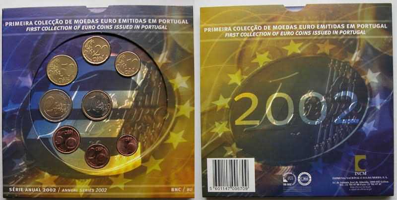 Lieferumfang:Portugal : 3,88 Euro original Kursmünzensatz aus Portugal  2002 bfr KMS Portugal 2002