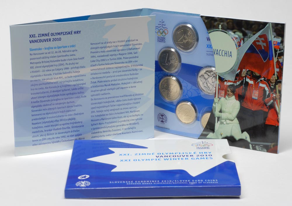 Lieferumfang:Slowakei : 3,88 Euro original KMS der Slowakei + Medaille Olympische Spiele Vancouver 2010  2010 Stgl. KMS Slowakei 2010 BU