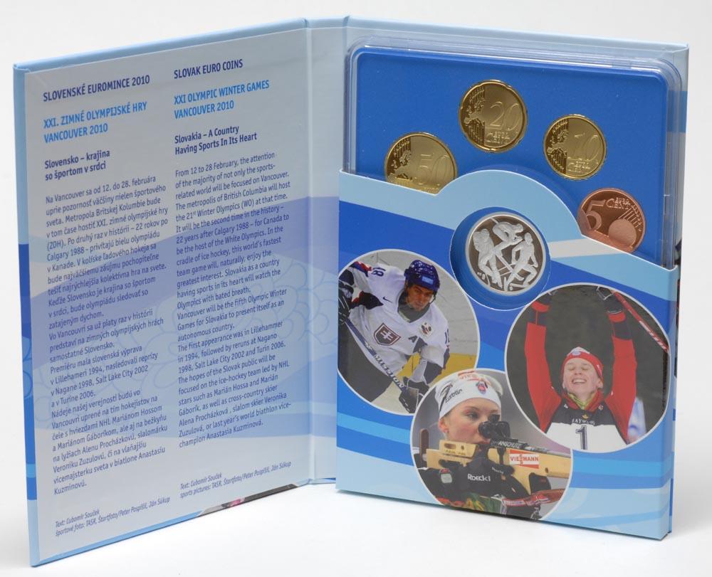 Slowakei : 3,88 Euro original KMS der Slowakei + Medaille Olympische Spiele Vancouver 2010  2010 PP KMS Slowakei 2010 PP